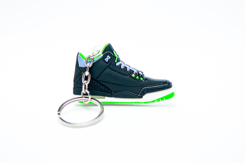 614fc143def376 Nike Air Jordan 3 Retro Black Green - Kool keyringsKool keyrings