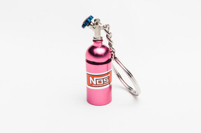 NOS Bottle keyring pink