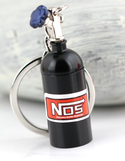 NOS Mini Nitrous Oxide Bottle Keyring Black