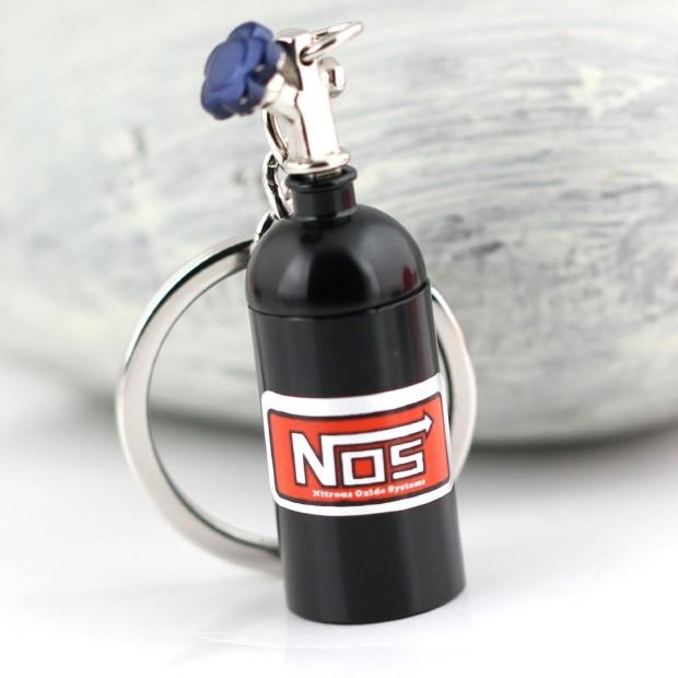 NOS Mini Nitrous Oxide Bottle Keyring Black