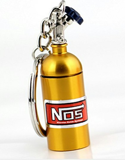 NOS Mini Nitrous Oxide Bottle Keyring Gold 1