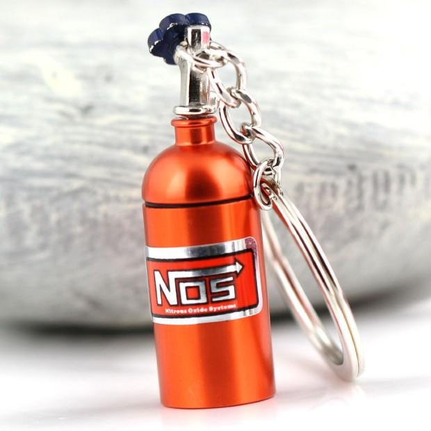 NOS Mini Nitrous Oxide Bottle Keyring Orange