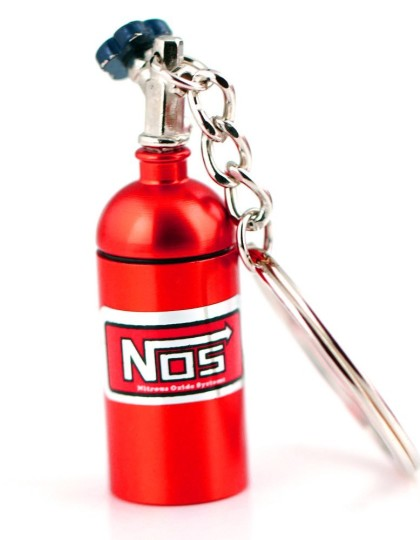 NOS Mini Nitrous Oxide Bottle Keyring Red