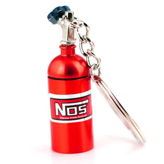 NOS Mini Nitrous Oxide Bottle Keyring Red