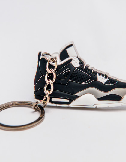 Nike Air Jordan 4 Retro Black Grey White Keyring