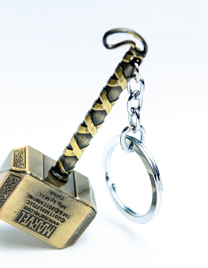 Thor hammer keyring Gold 2