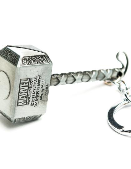 Thor hammer keyring silver