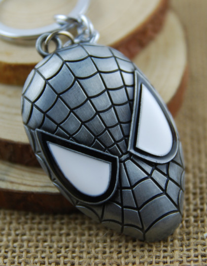 Keyring-New-Arrival-Trendy-Unisex-Face-Llaveros-2015-New-Fashion-Keychain-Spiderman-Mask-Chain-Zinc-Alloy Silver