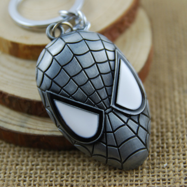 Keyring-New-Arrival-Trendy-Unisex-Face-Llaveros-2015-New-Fashion-Keychain-Spiderman-Mask-Chain-Zinc-Alloy Silver