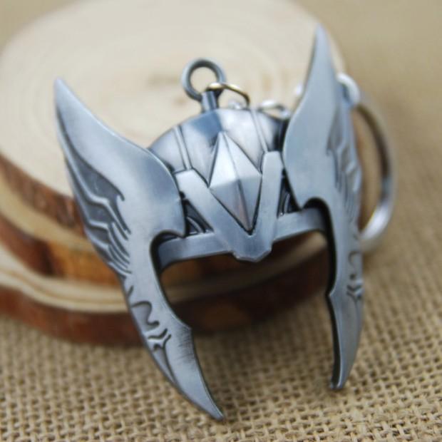 The-Avengers-Thor-s-helmet-Keyrings-Thor-Metal-Keychain-Key-Ring-chaveiro silver