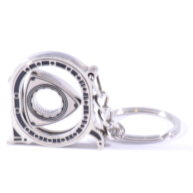 Rotary moving Wankel Engine Silver Keyring