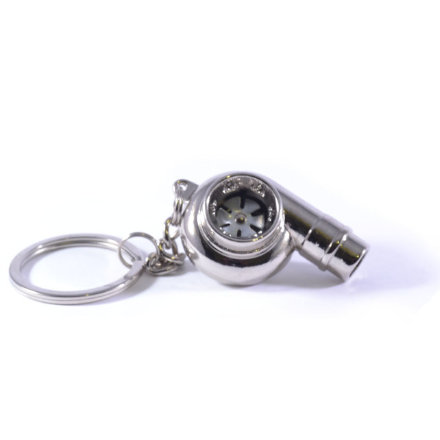 Spinning turbo keychain Silver whistle noise 2