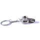 Spinning turbo keychain Silver whistle noise