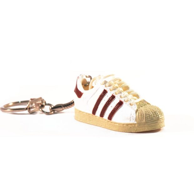 adidas superstar trainer keyring white brown