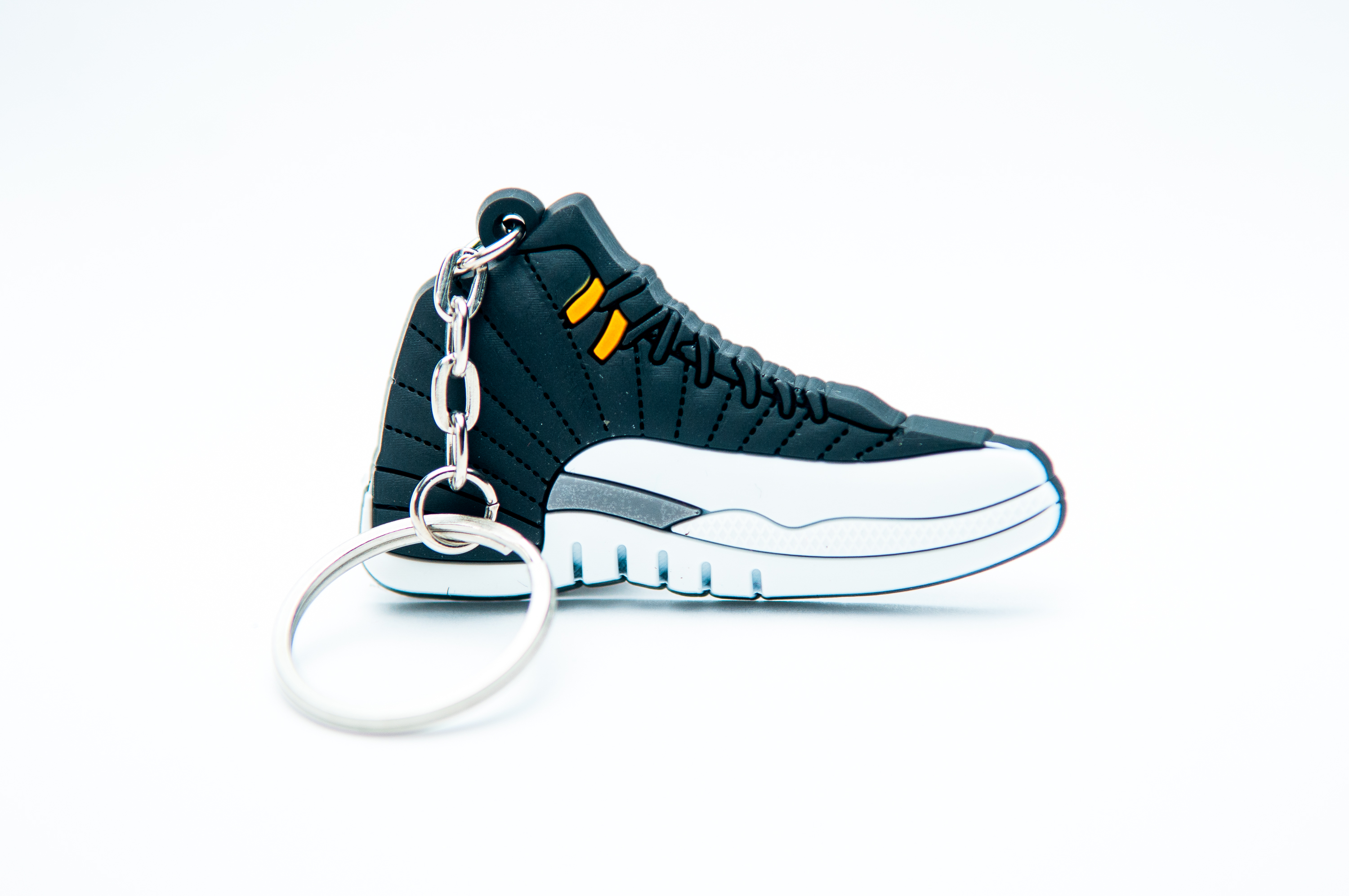 half off e9bd9 68f12 Nike Air Jordan 12 Retro Black White Grey - Kool Keyrings