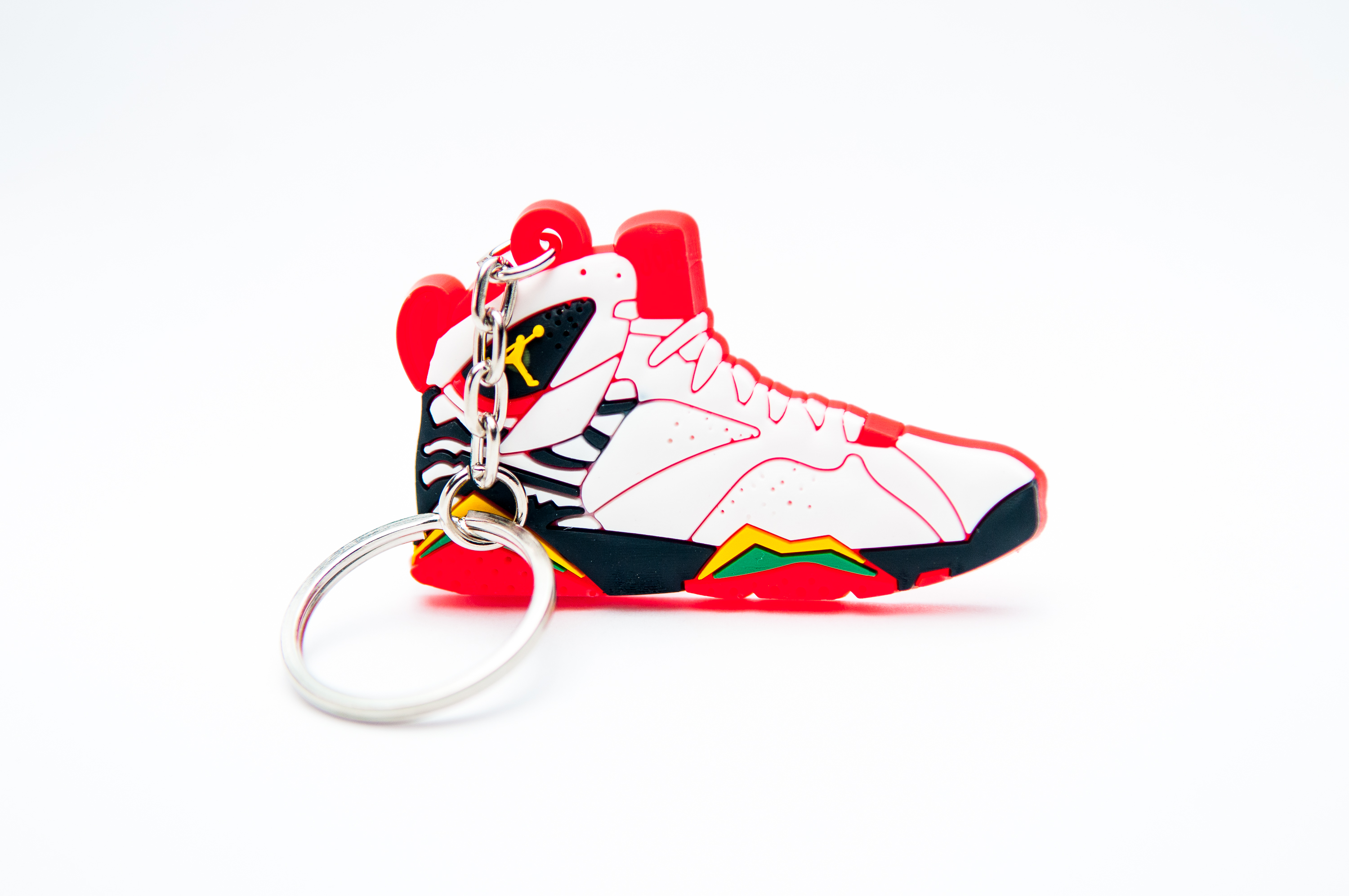 Nike Air Jordan 7 Retro Premio White Del Sol Black Challenge Red Kool Keyrings